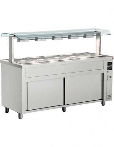 Inomak Gastronorm Bain Marie with Double Sneeze Guard - MRV718